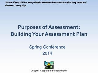 Purposes of Assessment: Building Your Assessment Plan