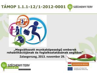 TÁMOP  1.1.1-12/1 -2012-0001