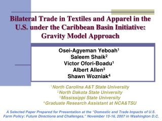 Bilateral Trade in Textiles and Apparel in the U.S. under the Caribbean Basin Initiative: Gravity Model Approach