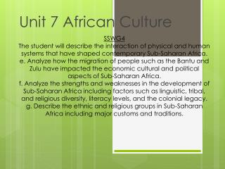 Unit 7 African Culture