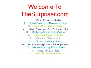 Christmas Gifts, Flowers, Chocolates Cakes to India Online
