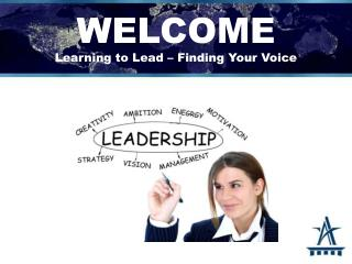 WELCOME Learning  to Lead  � Finding Your Voice
