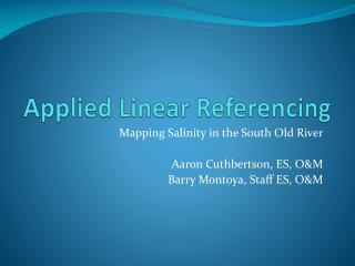 Applied Linear Referencing