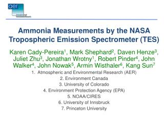 Ammonia Measurements by the  NASA Tropospheric Emission Spectrometer  (TES)