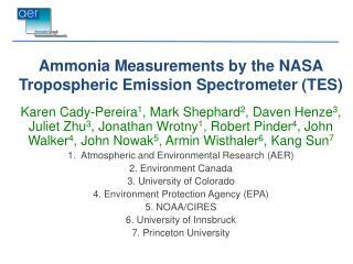 Ammonia Measurements by the  NASA Tropospheric Emission Spectrometer  (TES)
