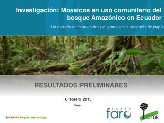 Investigación:  Mosaicos en uso comunitario del bosque Amazónico en Ecuador
