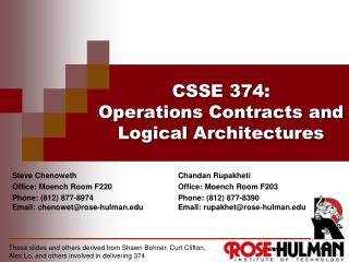 CSSE 374 : Operations  Contracts and Logical Architectures
