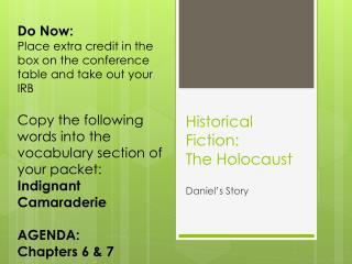 Historical Fiction: The Holocaust