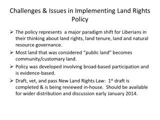 Challenges & Issues in Implementing Land Rights Policy