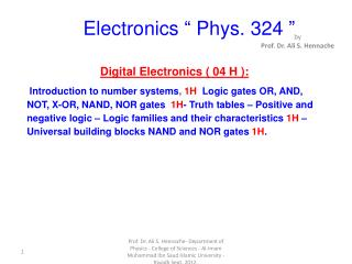 "Electronics "" Phys. 324 """