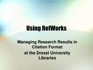 Using RefWorks