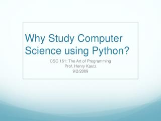 Why Study Computer Science using Python?