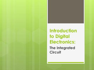 Introduction to Digital Electronics: