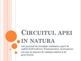 Circuitul apei in natura