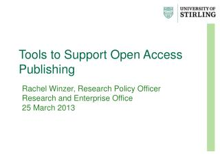 Tools to Support Open Access Publishing