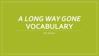 A Long Way Gone  Vocabulary