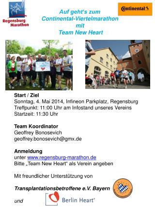Auf geht's zum   Continental-Viertelmarathon  mit  Team New Heart