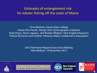 Estimates of entanglement risk for lobster fishing off the coast of Maine