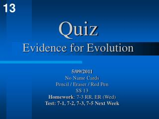 Quiz Evidence for Evolution