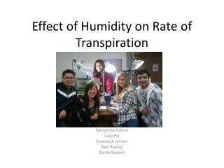 Effect of Humidity on Rate of Transpiration
