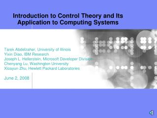 Introduction to Control Theory and Its Application to Computing Systems