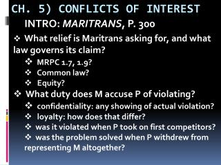 Ch. 5) CONFLICTS OF INTEREST