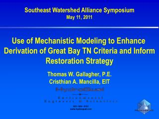 Southeast Watershed Alliance Symposium May 11, 2011