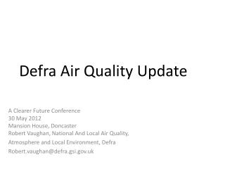 Defra Air Quality Update