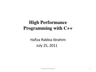 High Performance  Programming with C++