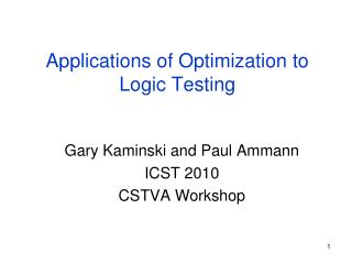 Applications of Optimization to Logic Testing
