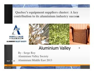 Quebec�s equipment suppliers cluster: A key contribution to its aluminium industry succe ss