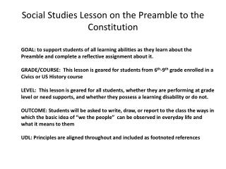 Social Studies Lesson on the Preamble to the Constitution