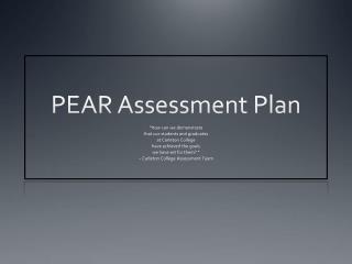 PEAR Assessment Plan