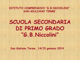 """ISTITUTO COMPRENSIVO """"G.B.NICCOLINI"""" SAN GIULIANO TERME"""