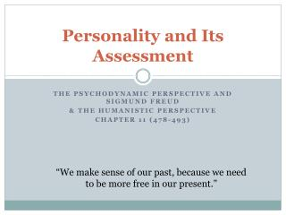 Personality and Its Assessment