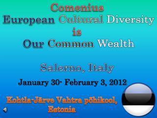 Comenius  European Cultural Diversity is  Our Common Wealth Salerno, Italy