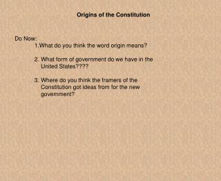 Origins of the Constitution