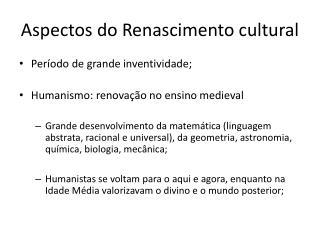 Aspectos do Renascimento cultural