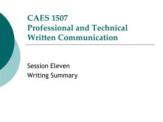 CAES 1507 Professional and Technical Written Communication