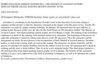 """PEMBUATAN FILM ANIMASI 2D  BERJUDUL """" THE HISTORY OF JAVANESE LETTERS """""""