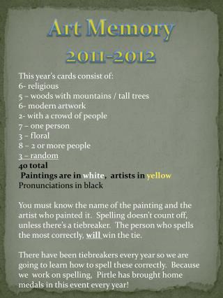 Art Memory 2011-2012