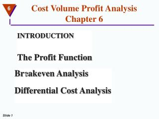 Cost Volume Profit Analysis Chapter 6