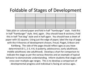 Foldable of Stages of Development