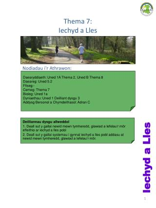 Thema 7:  Iechyd a Lles
