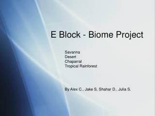 E Block - Biome Project