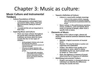 Chapter 3: Music as culture: