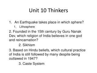 Unit 10 Thinkers