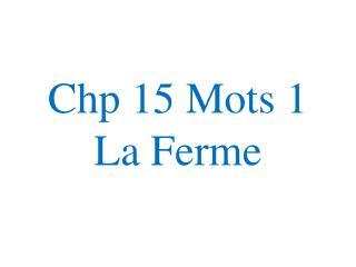 Chp  15  Mots  1 La  Ferme