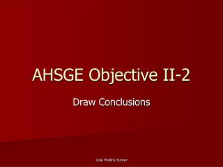 AHSGE Objective II-2