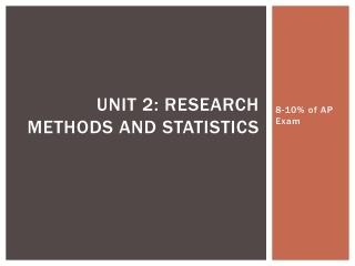 Unit 2: Research Methods and Statistics